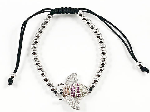 Unique Micro Setting CZ Insect Charm Silver Ball Beads Black Draw String Fashion Bracelet