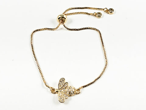 Beautiful Cute CZ Bee Insect Charm Gold Tone Draw String Brass Bracelet