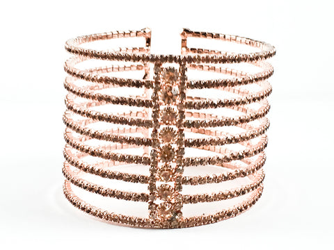 Fancy Multi Row Center Round Crystals Row Design Thick Tall Pink gold Tone Fashion Cuff Bangle