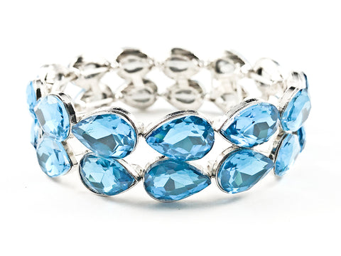 Fancy 2 Row Classic Large Tear Drop Shape Light Blue Color Crystals Stretch Fashion Bracelet