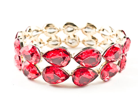 Fancy 2 Row Classic Large Tear Drop Shape Red Color Crystals Gold Tone Stretch Fashion Bracelet