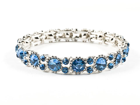 Stylish Thin Simple Round Shape Blue Color Crystals Pattern Stretch Fashion Bracelet