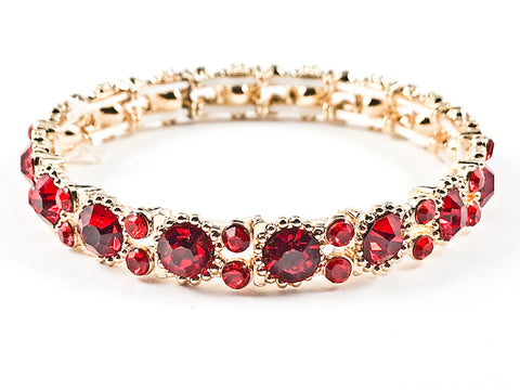 Stylish Thin Simple Round Shape Red Color Crystals Pattern Gold Tone Stretch Fashion Bracelet
