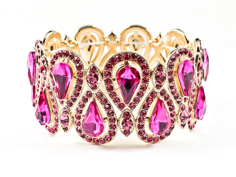 Stylish Fancy Vintage Style Pear Shape Pattern Fuchsia Color Crystals Gold Tone Stretch Fashion Bracelet