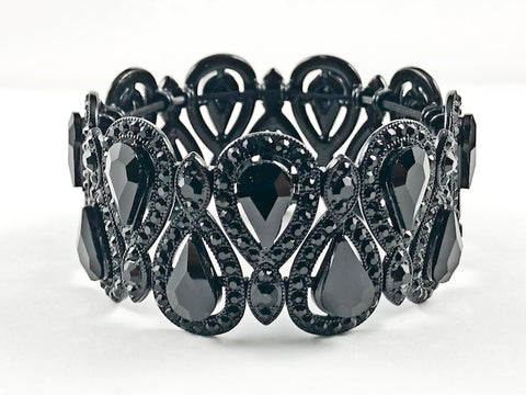 Stylish Fancy Vintage Style Pear Shape Pattern Black Color Crystals Black Tone Stretch Fashion Bracelet