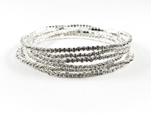 Nice 6 Piece Single Row Crystal Stretch Fashion Bracelet