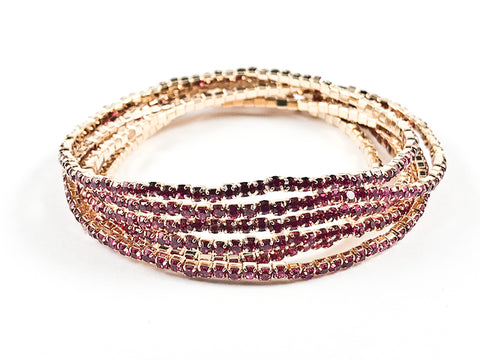 Nice 6 Piece Single Row Fuchsia Crystal Gold Tone Stretch Fashion Bracelet