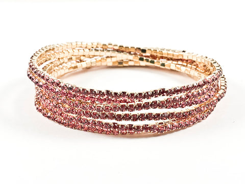 Nice 6 Piece Single Row Pink Crystal Gold Tone Stretch Fashion Bracelet
