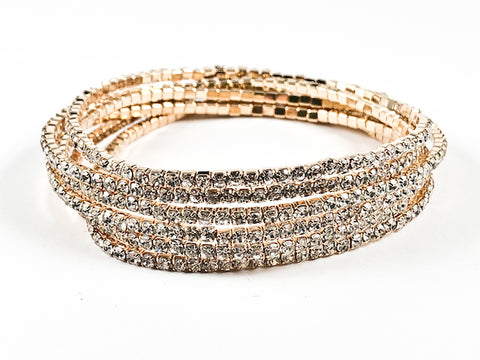 Nice 6 Piece Single Row Crystal Gold Tone Stretch Fashion Bracelet