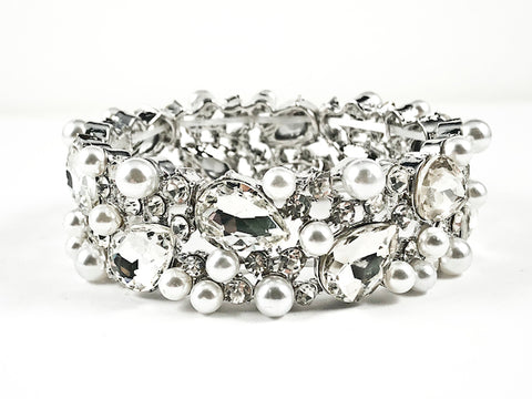 Stylish Thick Mix Large Pearl & Crystal Design Style Stretch Fashion Bracelet