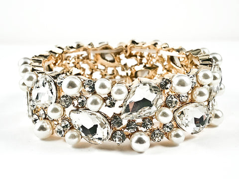 Stylish Thick Mix Large Pearl & Crystal Design Style Gold Tone Stretch Fashion Bracelet
