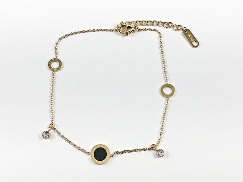 Beautiful Thin Multi Round Disc With Roman Numerals Design Gold Tone Steel Anklet