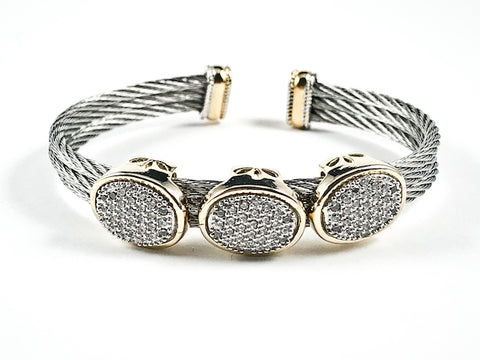 Modern Double Wire Band Design With Triple Oval Shape Pave CZ Two Tone Brass Cuff Bangle