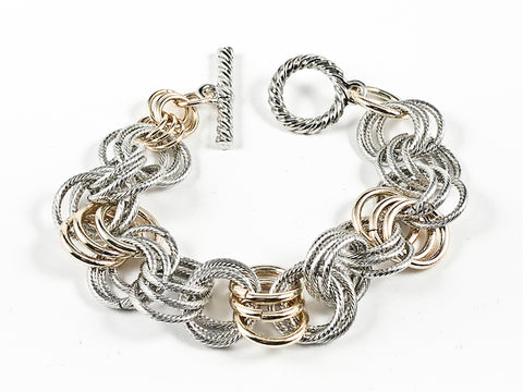Beautiful Layered Multi Link Design Two Tone Style Toggle Brass Bracelet