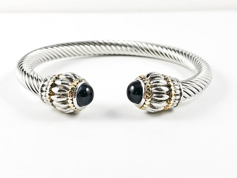 Elegant Casual Black Onyx Cable Brass Bangle