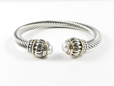 Classic Elegant Casual Pearl Thick Cable Brass Bangle