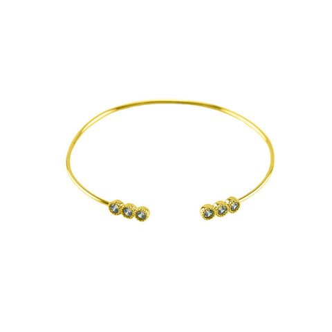 Elegant Thin Delicate Wire Band Round CZ Dainty Gold Tone Brass Bangle