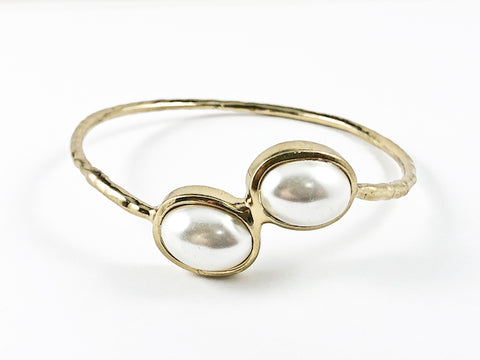 Unique Duo Ends Pearl Closed Design Gold Tone Fashion Bracelet Bangle