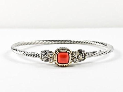 Modern Wire Texture Center Orange Coral Stone Magnetic Brass Bracelet
