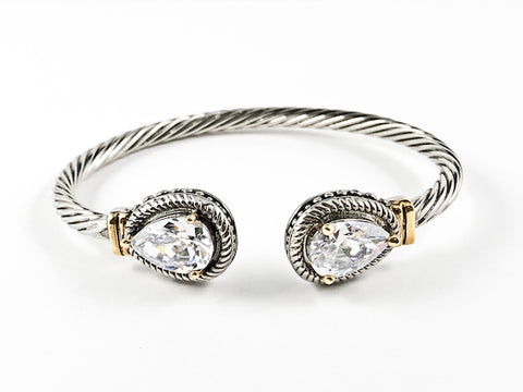 Elegant Thick Wire Textured Tear Drop Duo Ends Brass Bangle