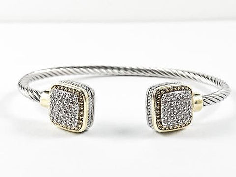Unique Cable Wire Design With Square Micro Setting CZ Duo Ends Brass Cuff Bangle