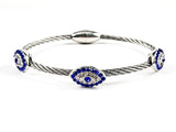 Modern Wire Texture Band With Blue CZ Evil Eye CZ Brass Bangle