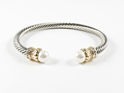 Modern Wire Texture Vintage Crown Pearl Duo Ends Design Brass Bangle