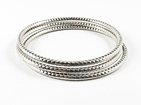 Modern 3 Pieces Set Textured Eternity Style Fashion Bangle
