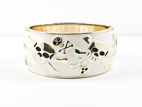 Nice Thick Large White Enamel With Skull Design Patterns Gold Tone Fashion Bangles