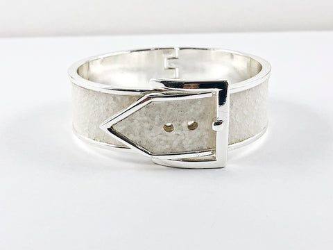Fancy Unique Thick White Belt Buckle Design Brass Bangle