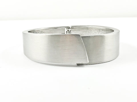 Modern Brushed Silver Tone Brass Bangle Bracelet