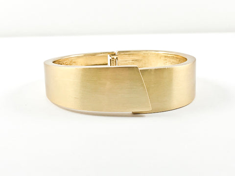 Modern Brushed Yellow Gold Brass Bangle Bracelet