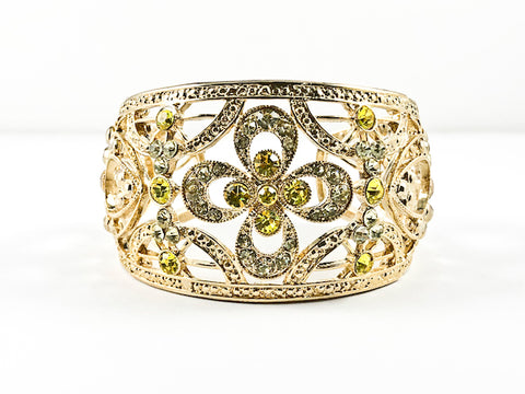 Elegant Large Open Works Floral Design Pattern Light Green Crystals Gold Tone Fashion Bangle