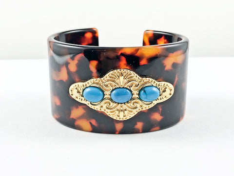 Fancy Antique Tortoiseshell Color Pattern With Turquoise Fashion Bangle