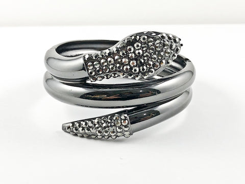 Modern Large Snake Design CZ Fashion Bangle