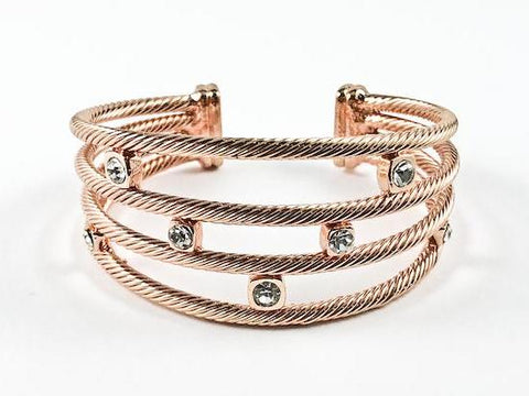 Modern Cable Wire Cuff Design Square Shape Crystals Pink Gold Tone Brass Bangle