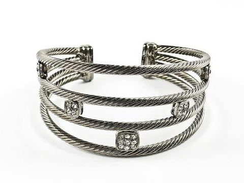 Modern Cable Wire Cuff Design Square Shape Crystals Black Rhodium Tone Brass Bangle