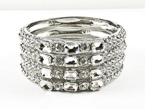 Large Fancy 4 Row Decorated & Detailed Crystal Pattern Fashion Bangle