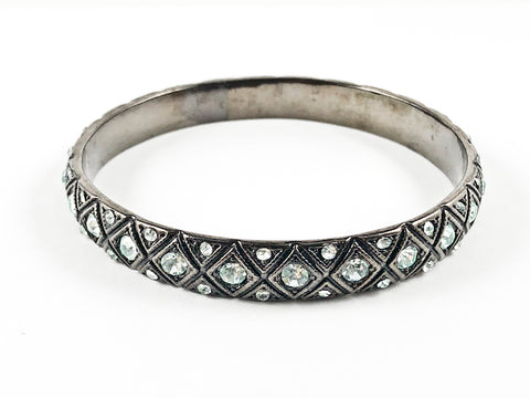 Unique Dark Antique Pattern With Light Blue Crystals Fashion Bangle