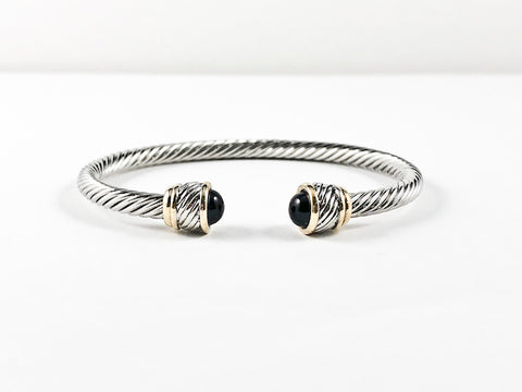 Modern Thin Cable Wire Design With Unique Two Tone Duo Frames & Half Round Black Onyx Stone Ends Brass Cuff Bangle