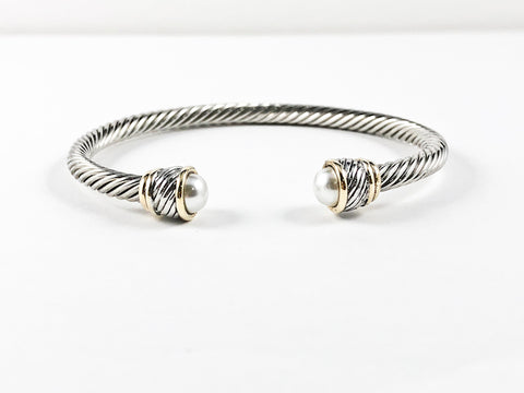 Modern Thin Cable Wire Design With Unique Two Tone Duo Frames & Half Round Pearl Stone Ends Brass Cuff Bangle