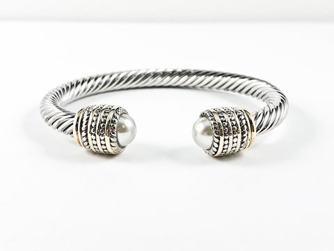 Modern Cable Wire Design With Duo Half Round Pearl Stone Ends & Textured Two Tone Plating Frame Brass Cuff Bangle