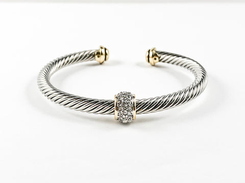 Modern Cable Wire With Center Ball CZ Charm Two Tone Plating Duo Ends Brass Cuff Bangle