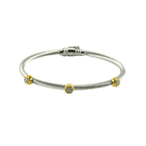 Modern Cable Wire Mini Round Disc With CZs Two Tone Brass Bangle
