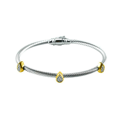 Modern Cable Wire Mini Tear Drop With CZs Two Tone Brass Bangle