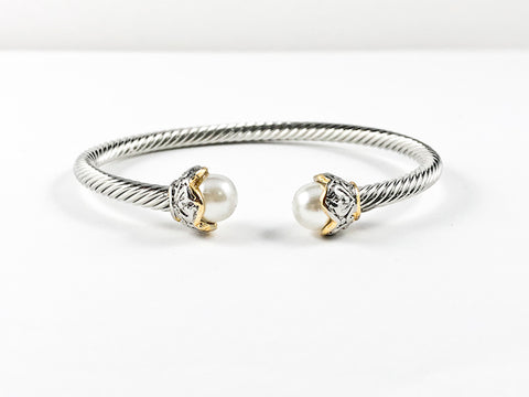Modern Cable Wire Design With Duo Pearl Stone Ends Brass Cuff Bangle