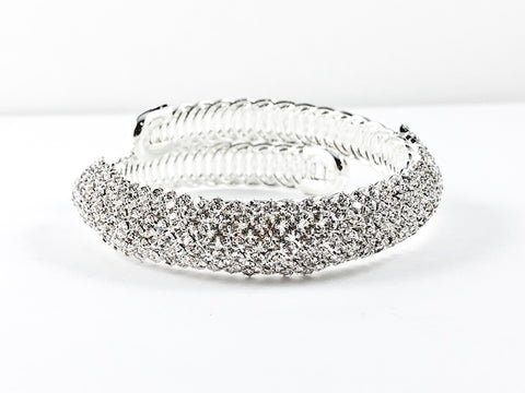 Unique Modern Warp Design Stylish Multi Crystal Row Bar Fashion Bangle