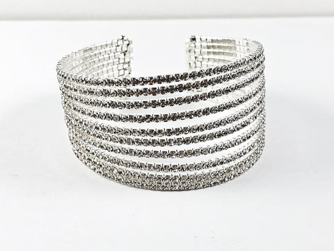 Fancy Stylish Large Multi Level Thick Fashion Cuff Bangle
