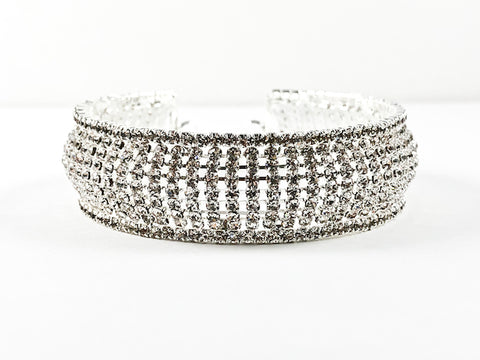 Fancy Stylish Thick Multi Level Crystal Brass Bangle Bracelet