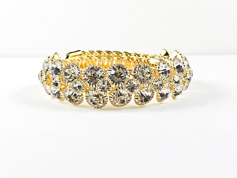 Unique Nice Wrap Design Large elegant Crystal Gold Tone Fashion Bracelet Bangle